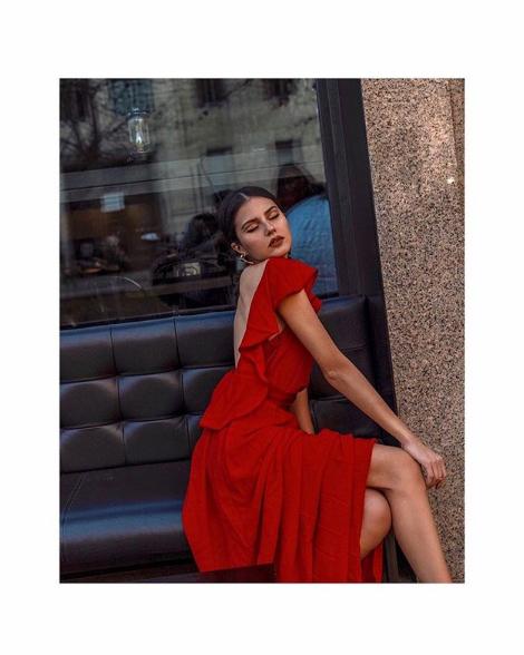 Abito lungo rosso Tara Jarmon per Paola Cossentino