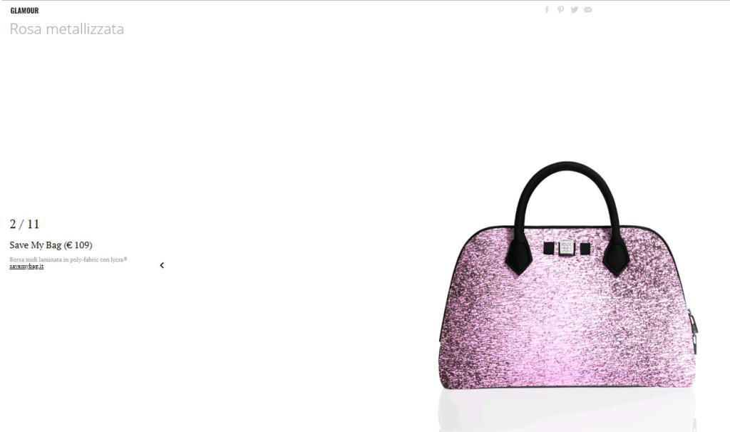 Modello Luna Pink di Save My Bag su Glamour.it