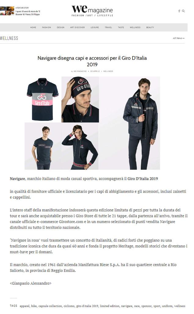 Navigare sponsor ufficiale del Giro d'Italia 2019 su wemagazine.it